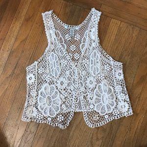 American Rag Crochet Vest. Boho Lace Open Vest